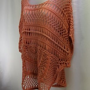 Boho Hippie Crochet coral orange cover up top